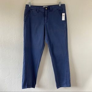 Anthropologie Navy Blue Fitted Chino Trouser Pant